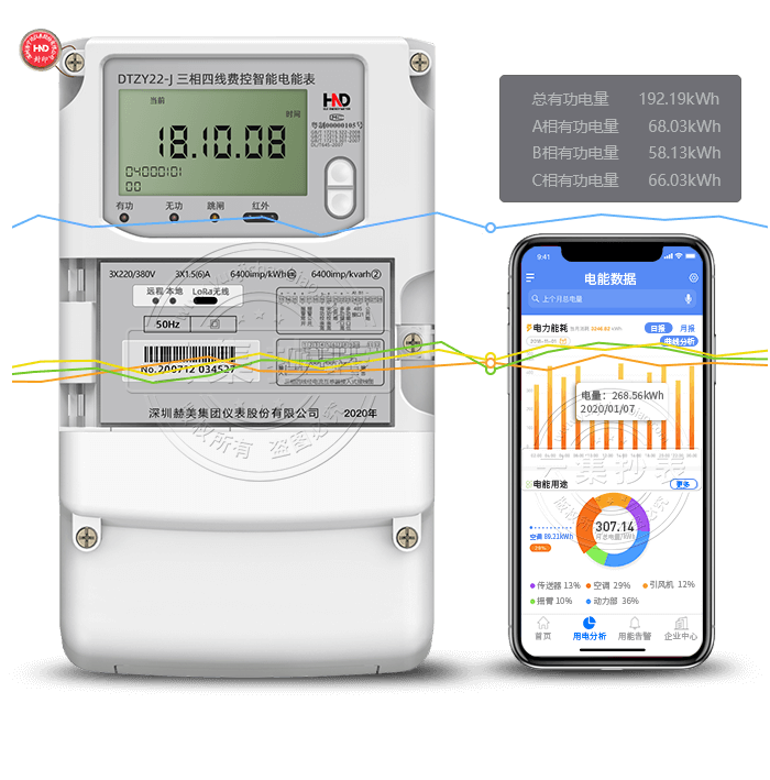 浩宁达DTZY22-J 三相LoRa无线物联网智能电表